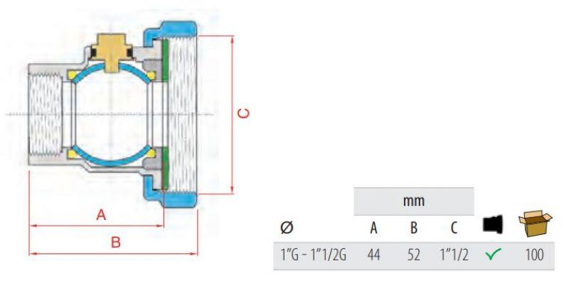 FARG 950 кран холендър месинг за помпа размери чертеж