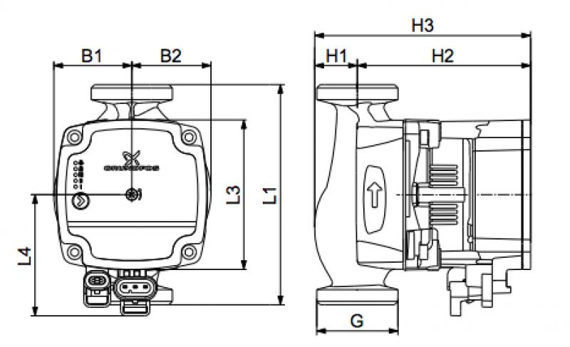 Grundfos Alpha1 L - размери